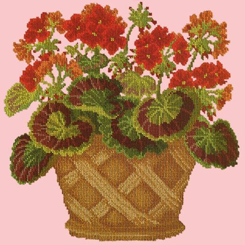 Geranium Pot Needlepoint Kit Elizabeth Bradley Design Pale Rose