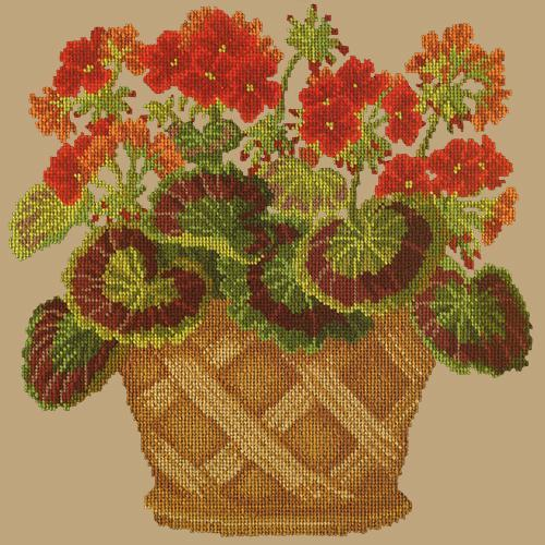 Geranium Pot Needlepoint Kit Elizabeth Bradley Design Sand