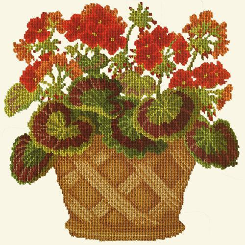 Geranium Pot Needlepoint Kit Elizabeth Bradley Design Winter White