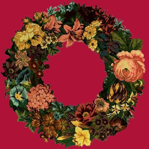 Giant Wreath Needlepoint Kit Elizabeth Bradley Design Bright Red
