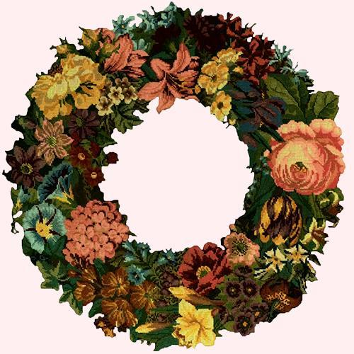 Giant Wreath Needlepoint Kit Elizabeth Bradley Design Cream