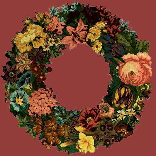 Giant Wreath Needlepoint Kit Elizabeth Bradley Design Dark Red