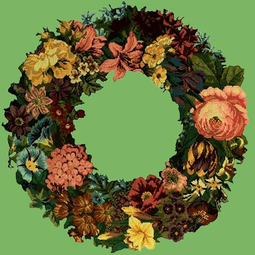 Giant Wreath Needlepoint Kit Elizabeth Bradley Design Grass Green