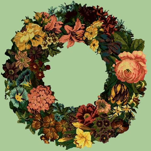 Giant Wreath Needlepoint Kit Elizabeth Bradley Design Pale Green