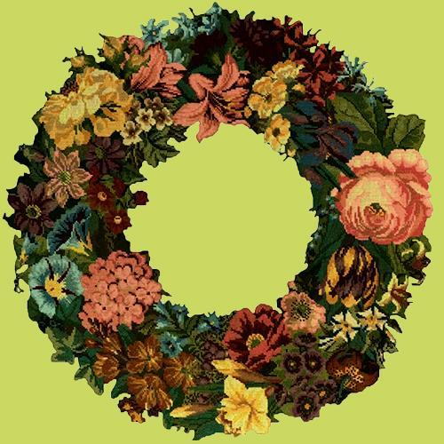 Giant Wreath Needlepoint Kit Elizabeth Bradley Design Pale Lime
