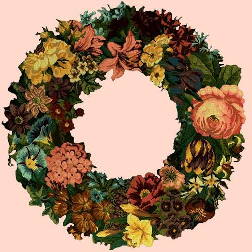 Giant Wreath Needlepoint Kit Elizabeth Bradley Design Salmon Pink