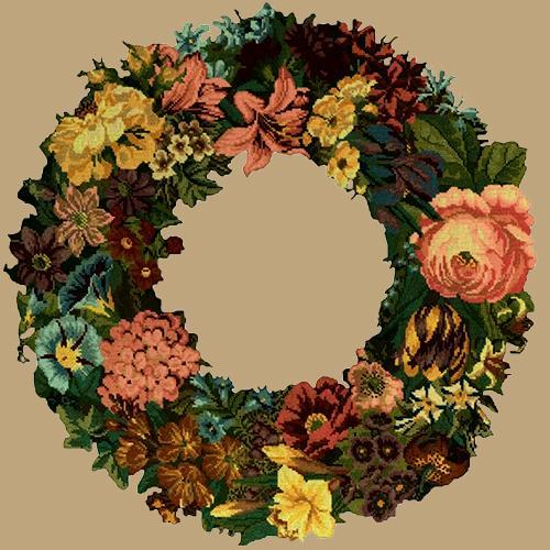 Giant Wreath Needlepoint Kit Elizabeth Bradley Design Sand