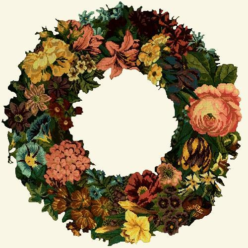 Giant Wreath Needlepoint Kit Elizabeth Bradley Design Winter White
