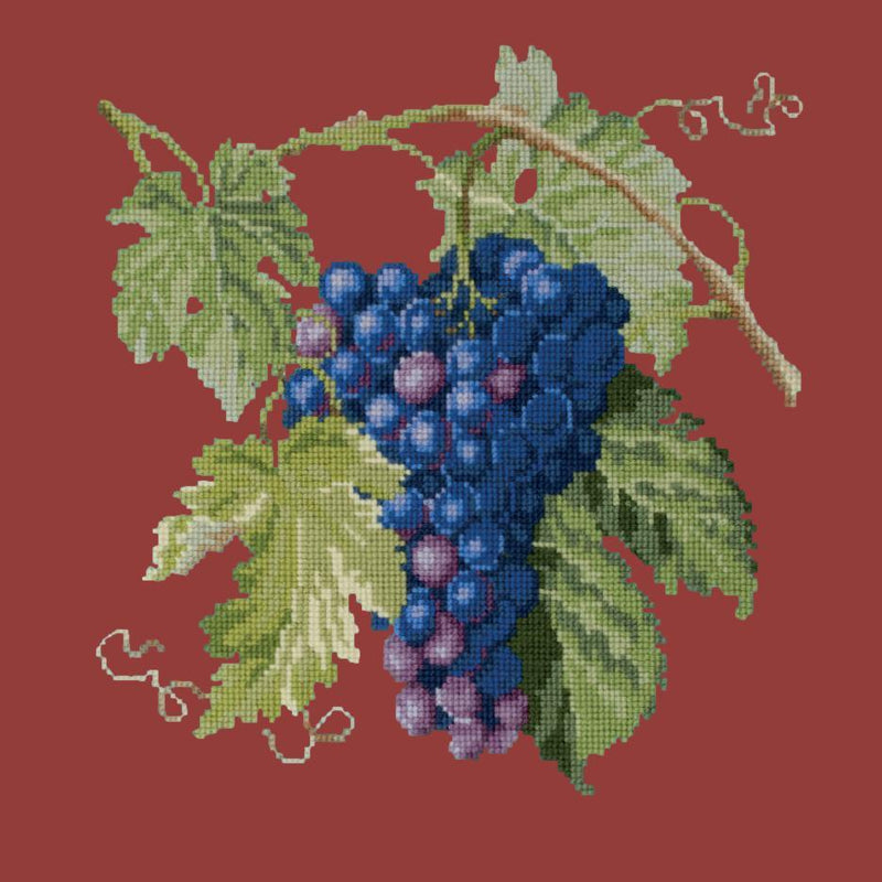 Grapes Needlepoint Kit Elizabeth Bradley Design Dark Red