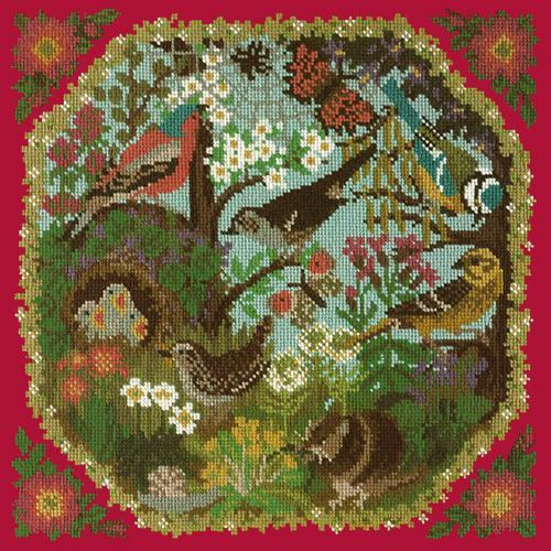 Hedgerow Needlepoint Kit Elizabeth Bradley Design Bright Red