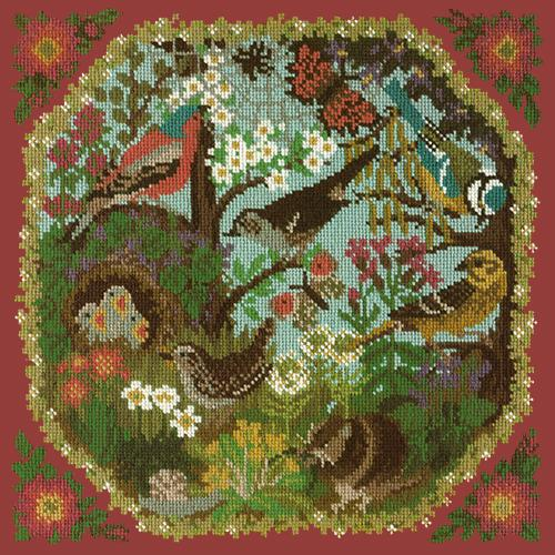 Hedgerow Needlepoint Kit Elizabeth Bradley Design Dark Red