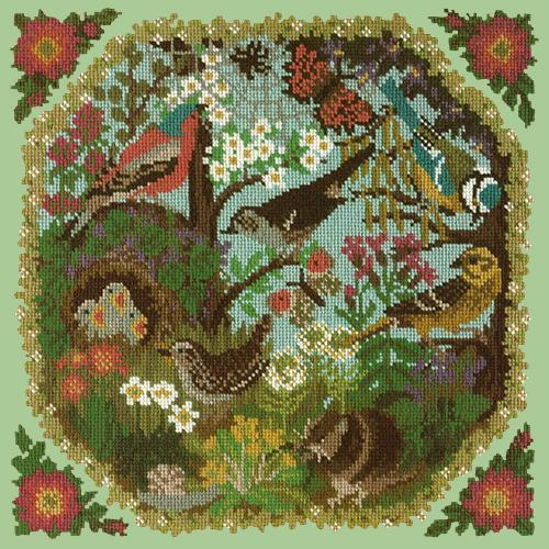 Hedgerow Needlepoint Kit Elizabeth Bradley Design Pale Green