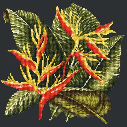 Heliconia Needlepoint Kit Elizabeth Bradley Design Black