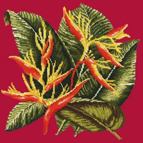Heliconia Needlepoint Kit Elizabeth Bradley Design Bright Red