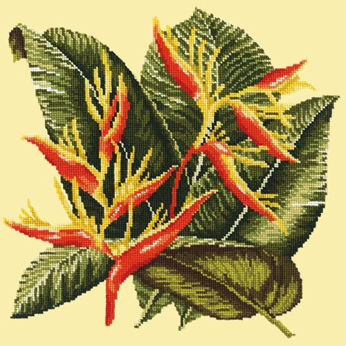 Heliconia Needlepoint Kit Elizabeth Bradley Design Butter Yellow