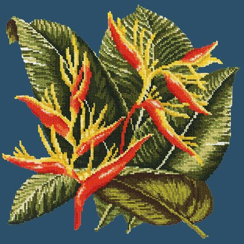 Heliconia Needlepoint Kit Elizabeth Bradley Design Dark Blue