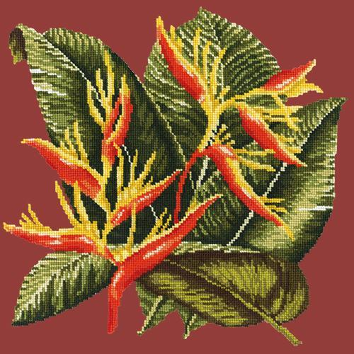 Heliconia Needlepoint Kit Elizabeth Bradley Design Dark Red