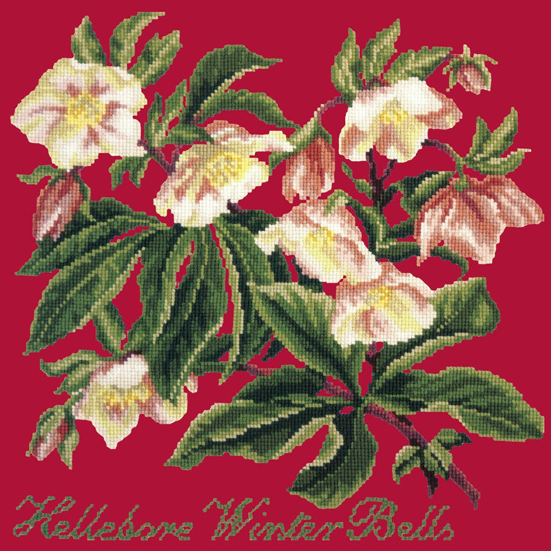 Hellebore Winter Bells Needlepoint Kit Elizabeth Bradley Design Bright Red