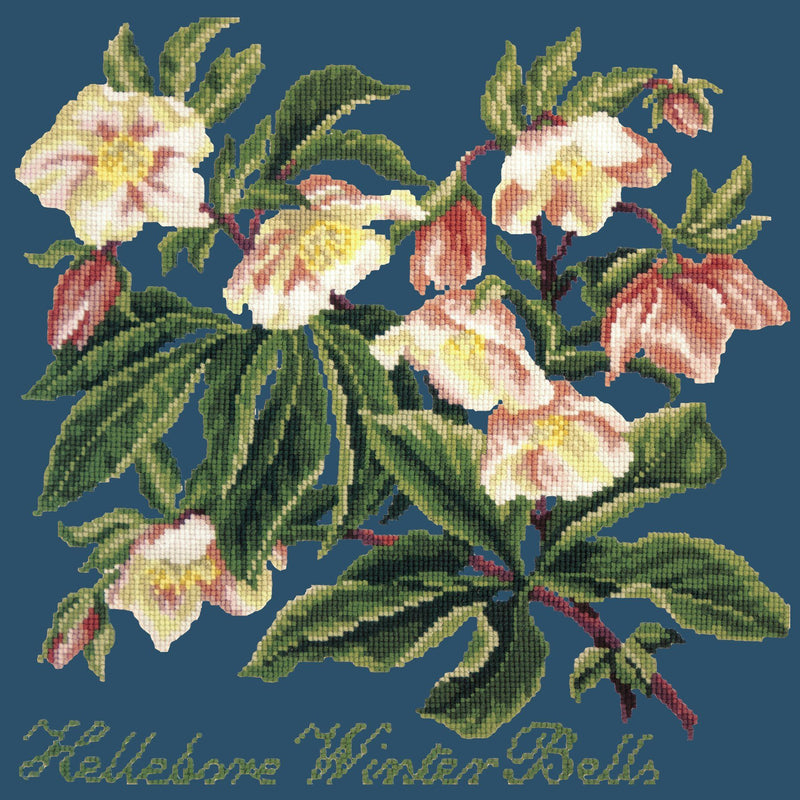Hellebore Winter Bells Needlepoint Kit Elizabeth Bradley Design Dark Blue