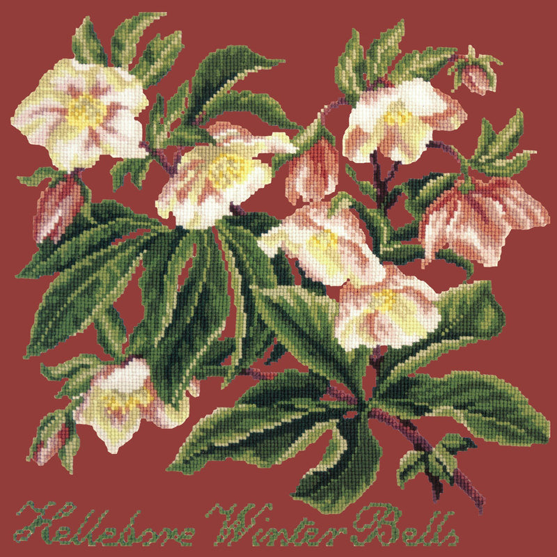 Hellebore Winter Bells Needlepoint Kit Elizabeth Bradley Design Dark Red