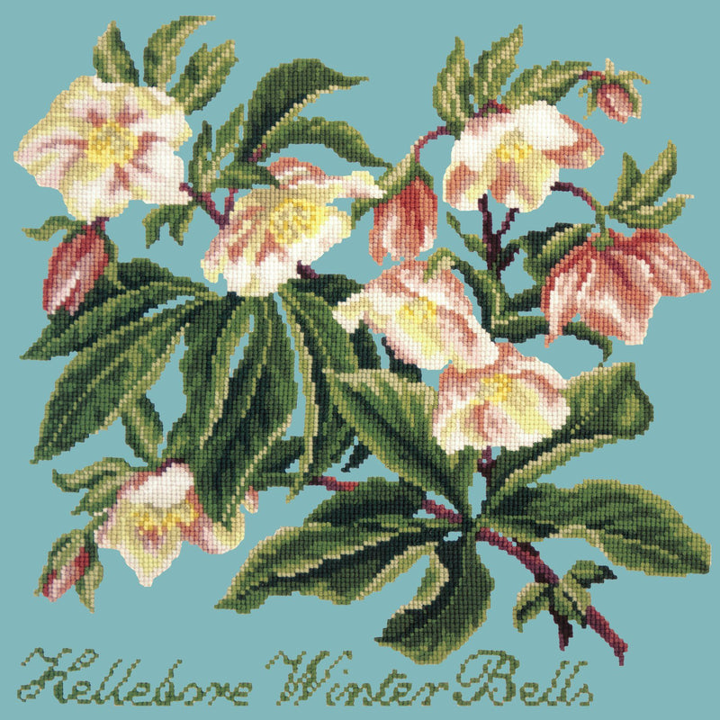 Hellebore Winter Bells Needlepoint Kit Elizabeth Bradley Design Duck Egg Blue