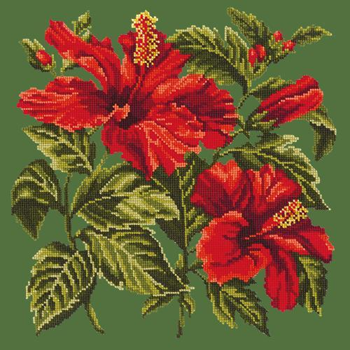 Hibiscus Needlepoint Kit Elizabeth Bradley Design Dark Green