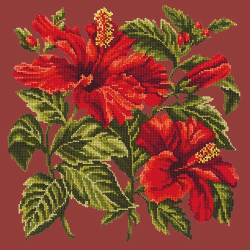 Hibiscus Needlepoint Kit Elizabeth Bradley Design Dark Red