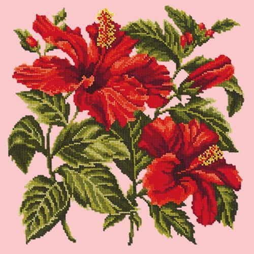 Hibiscus Needlepoint Kit Elizabeth Bradley Design Pale Rose
