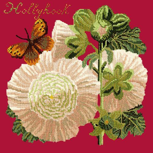 Hollyhock Needlepoint Kit Elizabeth Bradley Design Bright Red