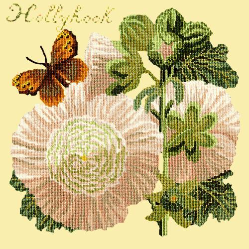 Hollyhock Needlepoint Kit Elizabeth Bradley Design Butter Yellow
