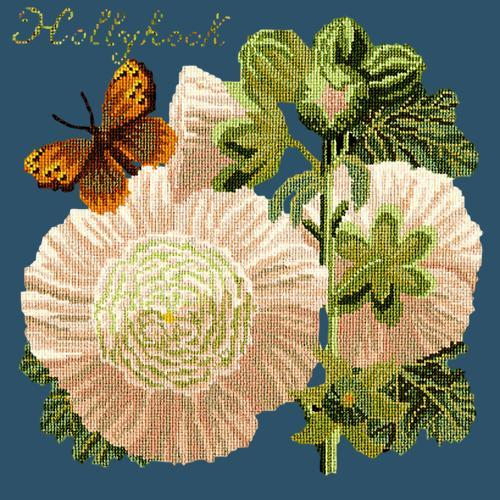 Hollyhock Needlepoint Kit Elizabeth Bradley Design Dark Blue