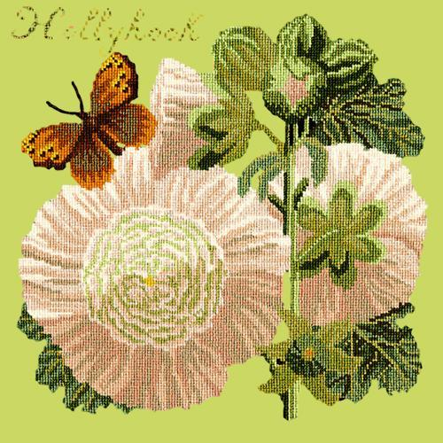 Hollyhock Needlepoint Kit Elizabeth Bradley Design Pale Lime