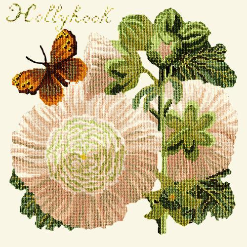 Hollyhock Needlepoint Kit Elizabeth Bradley Design Winter White