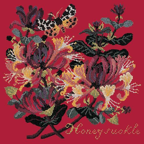 Honeysuckle Needlepoint Kit Elizabeth Bradley Design Bright Red