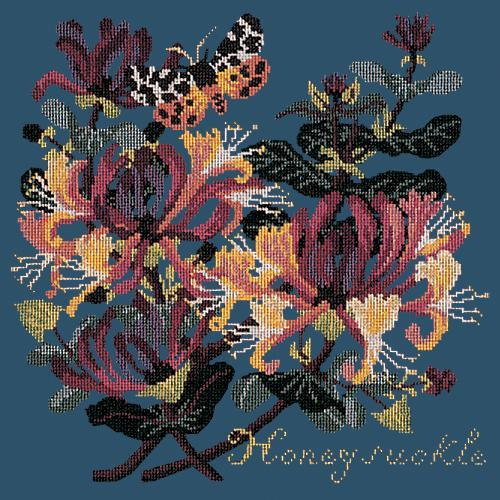 Honeysuckle Needlepoint Kit Elizabeth Bradley Design Dark Blue