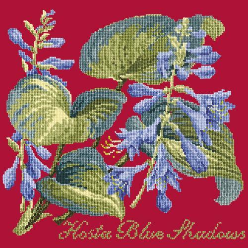 Hosta Blue Shadows Needlepoint Kit Elizabeth Bradley Design Bright Red