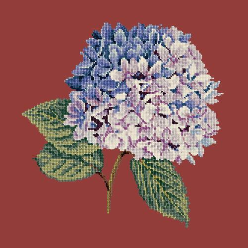 Hydrangea Needlepoint Kit Elizabeth Bradley Design Dark Red