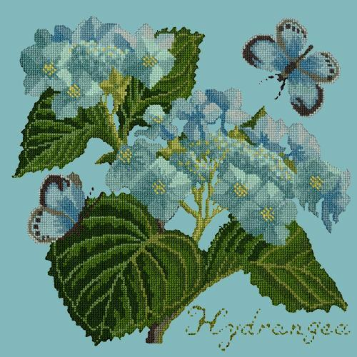Hydrangea Needlepoint Kit Elizabeth Bradley Design Duck Egg Blue