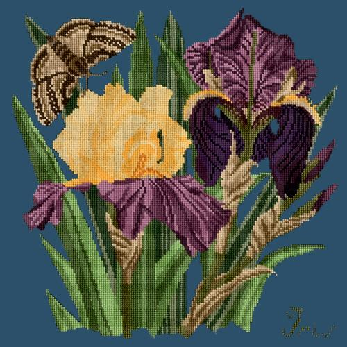 Iris Needlepoint Kit Elizabeth Bradley Design Dark Blue