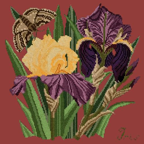Iris Needlepoint Kit Elizabeth Bradley Design Dark Red