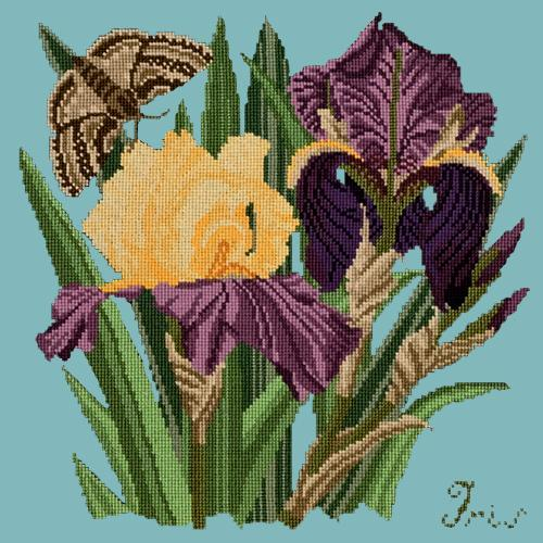 Iris Needlepoint Kit Elizabeth Bradley Design Duck Egg Blue