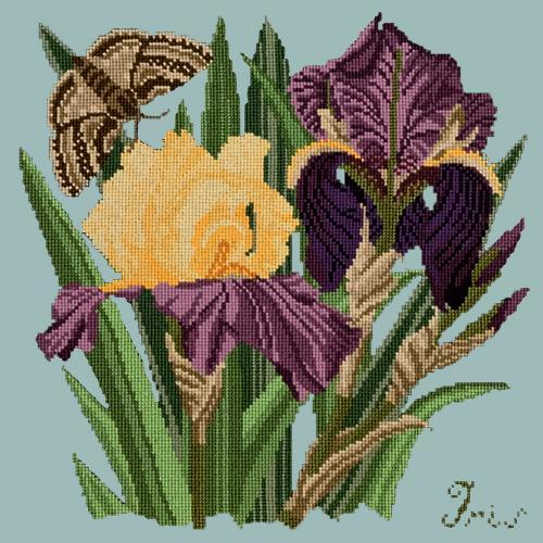 Iris Needlepoint Kit Elizabeth Bradley Design Pale Blue