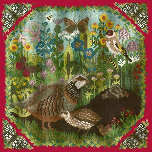 Meadow Needlepoint Kit Elizabeth Bradley Design Bright Red