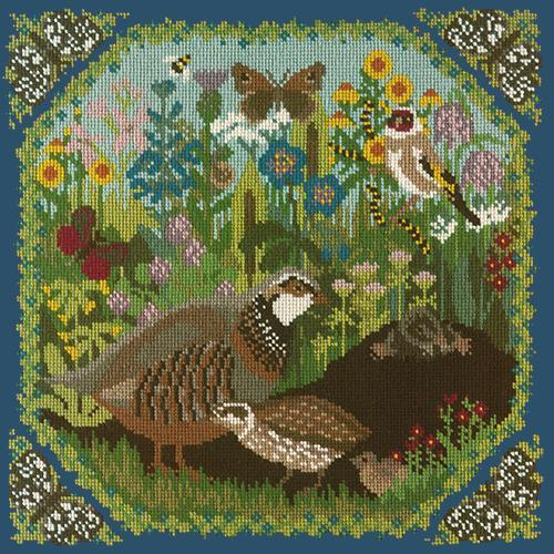 Meadow Needlepoint Kit Elizabeth Bradley Design Dark Blue