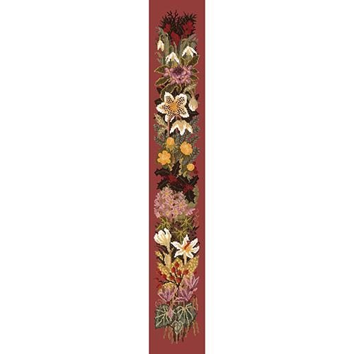 Midwinter Bell Pull Needlepoint Kit Elizabeth Bradley Design Dark Red