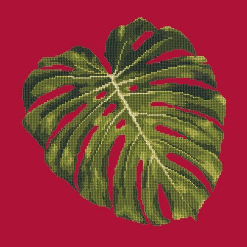 Monstera Leaf Needlepoint Kit Elizabeth Bradley Design Bright Red