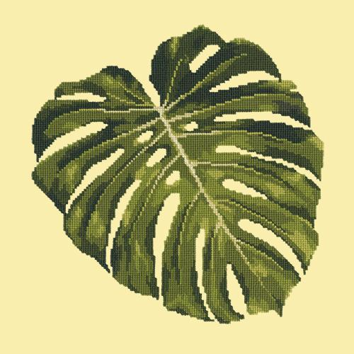 Monstera Leaf Needlepoint Kit Elizabeth Bradley Design Butter Yellow
