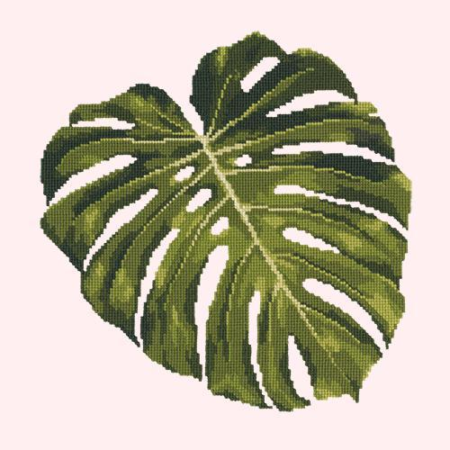Monstera Leaf Needlepoint Kit Elizabeth Bradley Design Cream