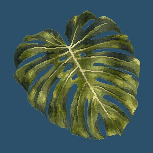 Monstera Leaf Needlepoint Kit Elizabeth Bradley Design Dark Blue