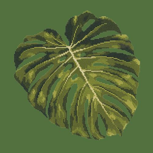 Monstera Leaf Needlepoint Kit Elizabeth Bradley Design Dark Green